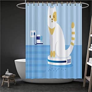 ALUONI Cat Driving or Riding Automatic Cleaner in Room.- Illustration Gulf Coast States,Durable Waterproof Shower Curtain Set Bathroom Fabric Curtains Hoover - Alabama for Home 71''W x 71''H