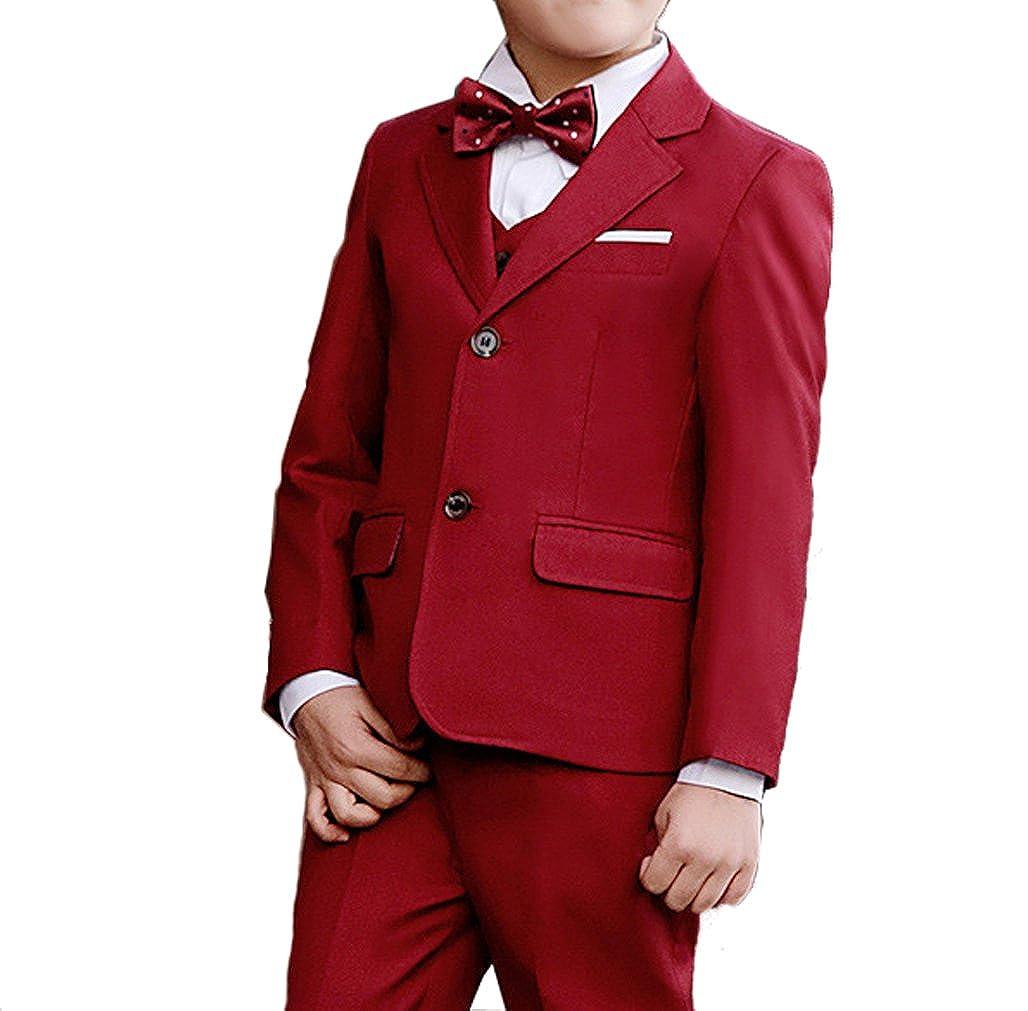 YUFAN Boys Red Navy Black 3 Colors Tuxedo Suits 5 Pieces Jacket Vest Pants Shirt Bow Tie