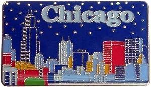 City of Chicago Night Skyline Souvenir Metal Super Magnetic Refrigerator Magnet