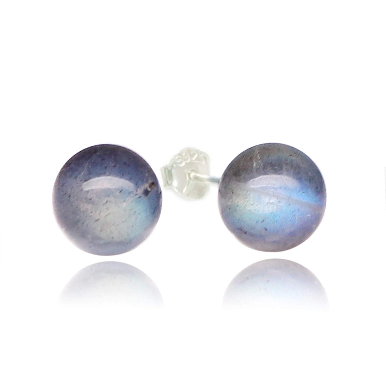 Luna Azure vintage Spherical Labradorite stone 925 sterling silver Stud Earrings women girls gift festival present Ltd