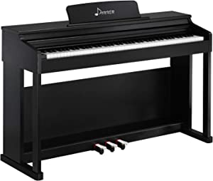 Donner DDP-100 88-Key Weighted Action Digital Piano, Beginner Bundle with Furniture Stand, Power Adapter, Triple Pedals, MP3 Function, Black