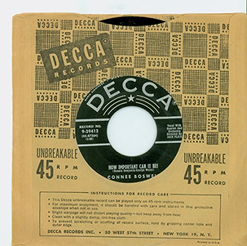Be? | Fill My Heart With Happiness - Connee Boswell (Decca Records 1955) Near-Mint (7 out of 10) - Vintage 45 RPM Vinyl Record ()