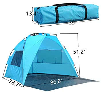 Portable Beach Canopy Pop Up Sun Shelter Instant Half Sun Beach Tent with Carry Bag  sc 1 st  Amazon.com & Amazon.com: Portable Beach Canopy Pop Up Sun Shelter Instant Half ...