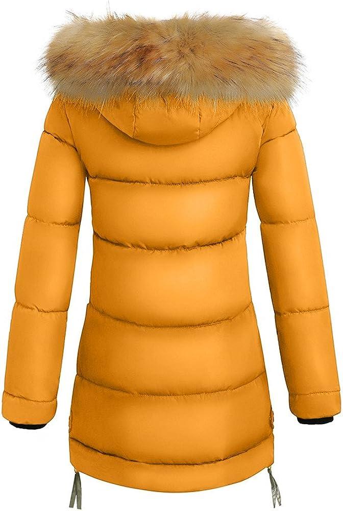 F/_Gotal Womens Warm Long Coat Fur Collar Hooded Jacket Slim Down Padded Parka Outwear Winter Warm Women Coats Winter