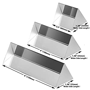 Amlong Crystal 2.5 Inch, 4 inch, 6 inch Optical Glass Triangular Prism for Teaching Light Spectrum Physics and Photo Photography Prism, Set of 3