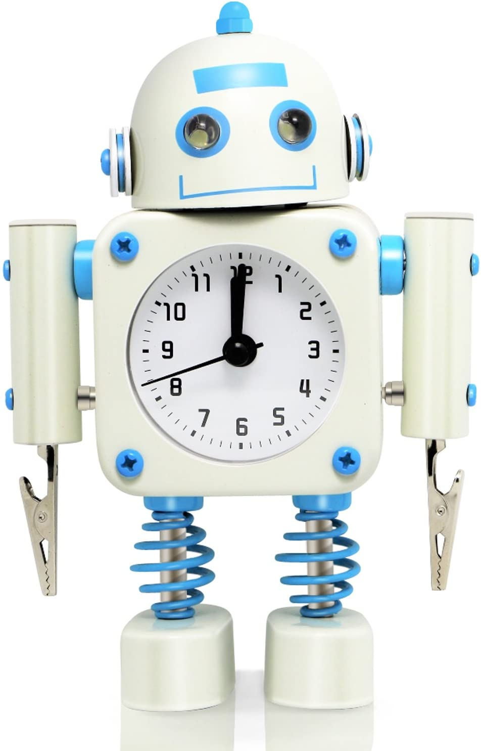 Betus Non-Ticking Robot Alarm Clock Stainless Metal - Wake-up Clock with Flashing Eye Lights and Hand Clip (White)