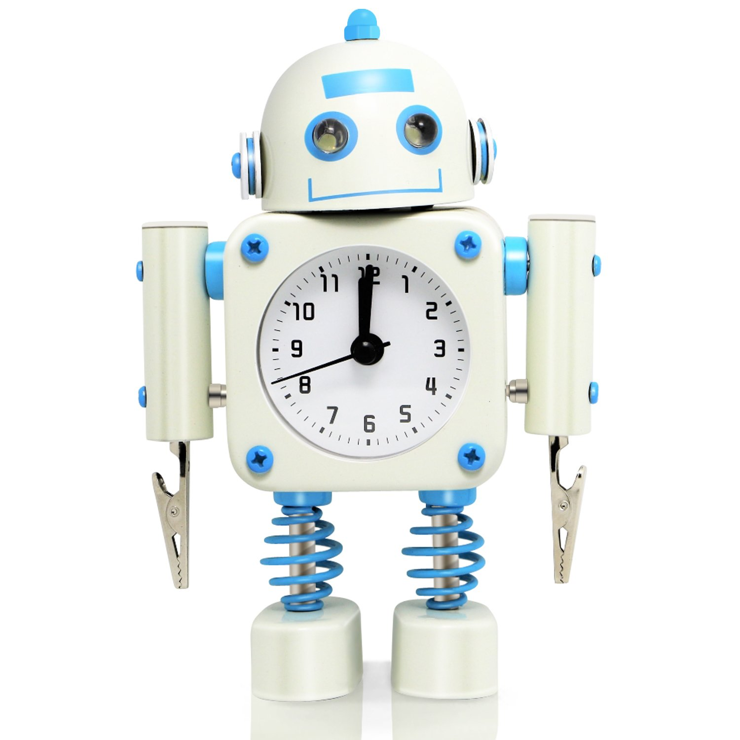 Betus [Non-ticking] Robot Alarm Clock - High Quality Stainless Metal - Wake-up Clock with Flashing Eye Lights and Hand Clip - 4.5 x 6.5 x 2 (Yellow)