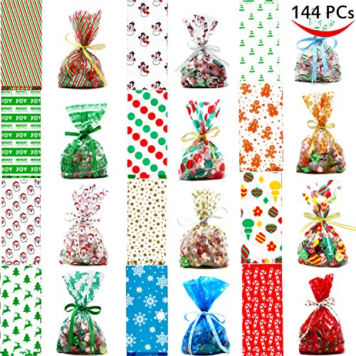 Joiedomi 144 PCs Christmas Cellophane Goody Bags Assortment for Christmas Holiday Treats Bags, Christmas Party Favors, Cello Candy Bags,, Party Supplies, Christmas Goodie (Christmas Holiday Candy)