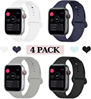 KOUUNN Sport Band Compatible for Apple Watch 38mm 40mm 42mm 44mm, Soft Silicone Sport Strap Replacement Band Compatible...