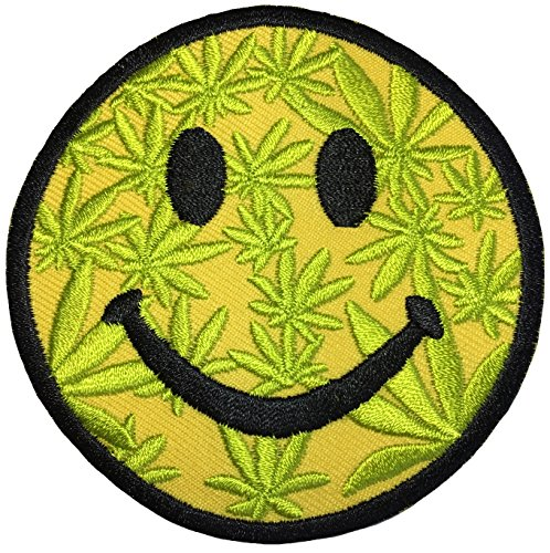 Papapatch Happy Face Smile Weed Marijuana Logo Hippie Retro Jacket T-shirt Fun Costume DIY Applique Embroidered Sew Iron on Patch - Yellow (IRON-SMILE-MARIJUANA) (Hippie-diy)
