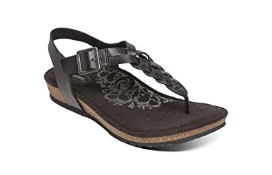 7d4132642b6c Aetrex Harper Womens Leather Adjustable Slingback Orthotic Thong Sandals -  Black - 5.5 (EU 35.5