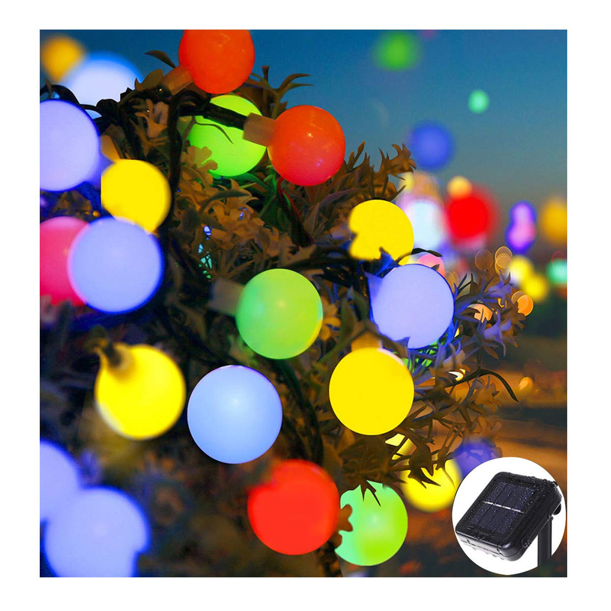 ifOlife Ball String Lights Solar Powered 30 LED 21Ft 8-Mode Waterproof Globe Fairy Lighting for Outdoor Decor,Garden,Chrimas Party,Weddings (Frosted Ball, Multi Color)