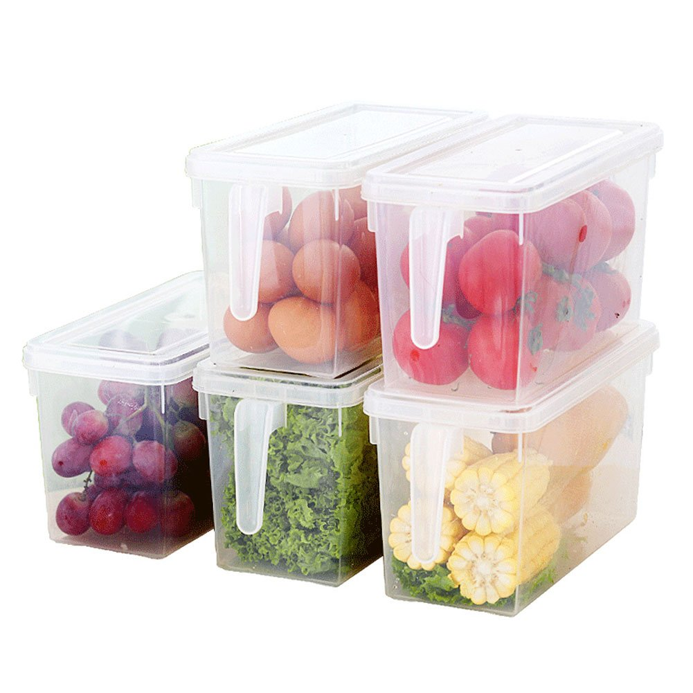 Organizador de alimentos HapiLeap para cocina/congelador, contenedor transparente con tapa y asa KB67-01