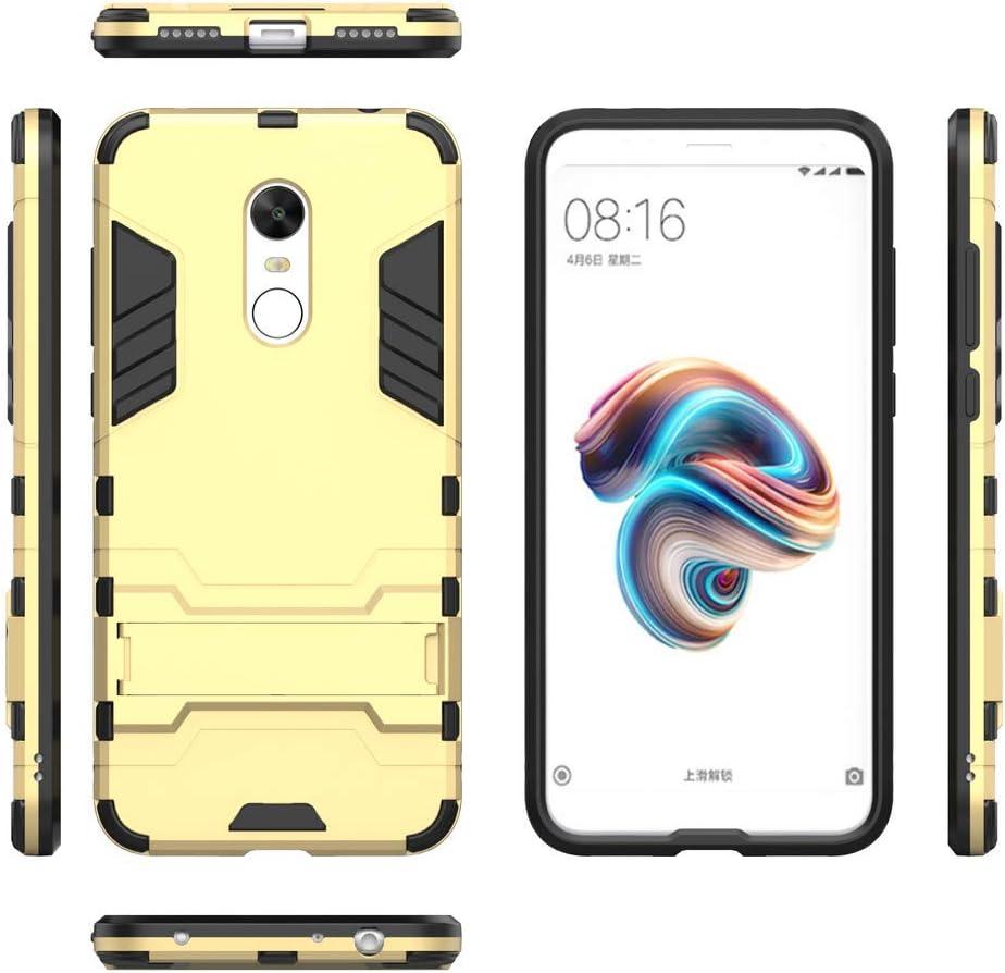 QiongniAN Funda para Xiaomi Redmi 5 Plus,2 en 1 (con Soporte) Funda para Xiaomi Redmi 5 Plus MET7 MEE7 MEG7 Funda Carcasa Case Gold