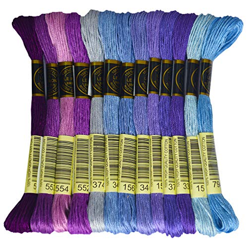 Premium Rainbow Color Embroidery Floss – Cross Stitch Threads – Friendship Bracelets Floss – Crafts Floss – 14 Skeins…