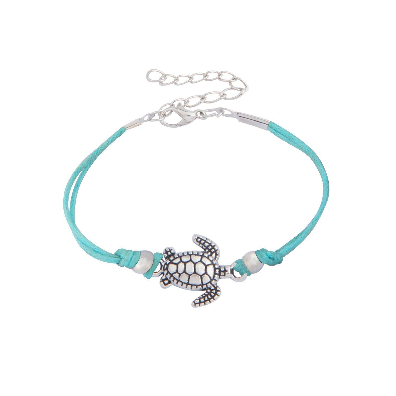 WUSUANED Vintage Wax Rope Turtle Anklet Bracelet Summer Beach Foot Jewelry (turtle anklet blue2)