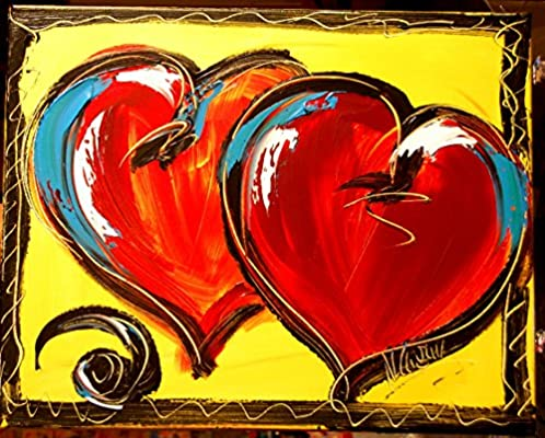 Amazon Com Valentine Hearts Original Paintings Artwork Landscape