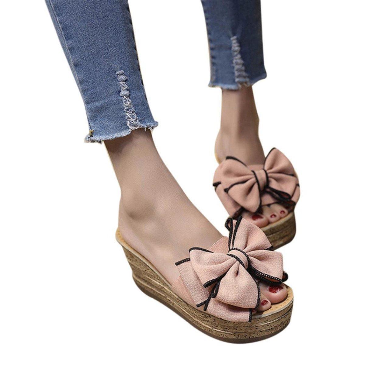 KESEELY Fashional Hight Heels Slipper Women Bow Wedges Slipper Sandals Kitten Heels Shoes For Summer (US:7, Pink)