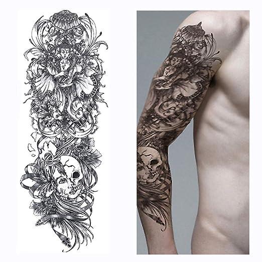 Handaxian 3pcsFull Flower Tattoo Tattoo Sticker pez Pavo Real ...
