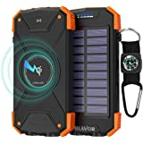 BLAVOR Wireless Powerbank, Portable Charger 10000mAh External Battery LED Light Solar Emergency Power for iPhone, Samsung, iPad Cellphone Wireless Headphone