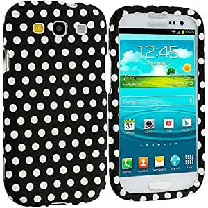 Accessory Planet(TM) Black / White Polka Dot Hard Snap-On Design Rubberized Case Cover Accessory for Samsung Galaxy S III S3
