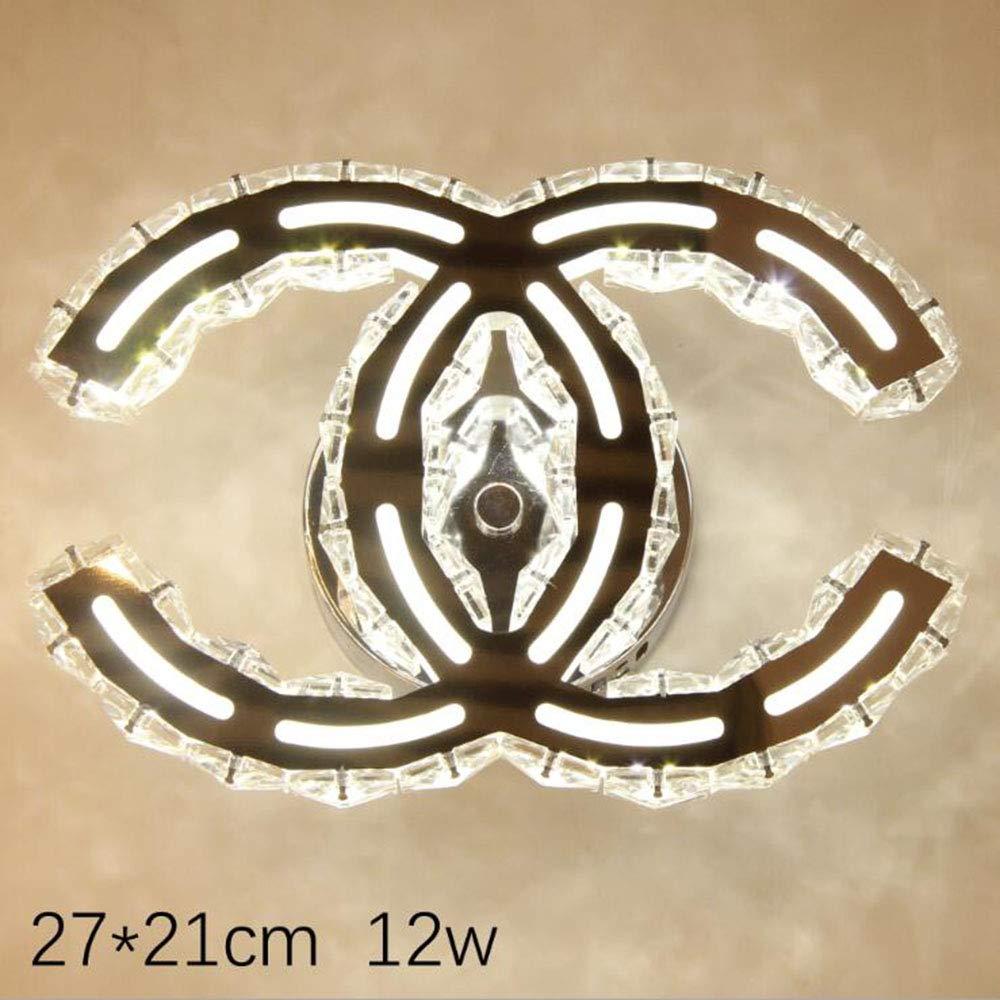 A 2721cm GUANCY LED Deckenleuchte Moderne Einfache Romantische Wohnzimmer Esszimmer K9 Crystal Klar Deckenlampe Elegante Edelstahl Spiegel Lampe Creative Studie Deckenbeleuchtung,A 27  21CM