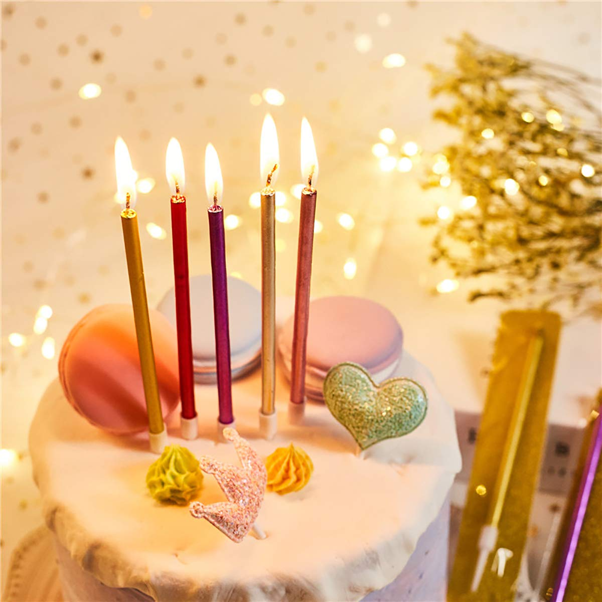 Kissral Birthday Cake Candles Pack of 24 Long Candles Set with Holders for Birthday Wedding Party Cake Decorations Champagne Gold