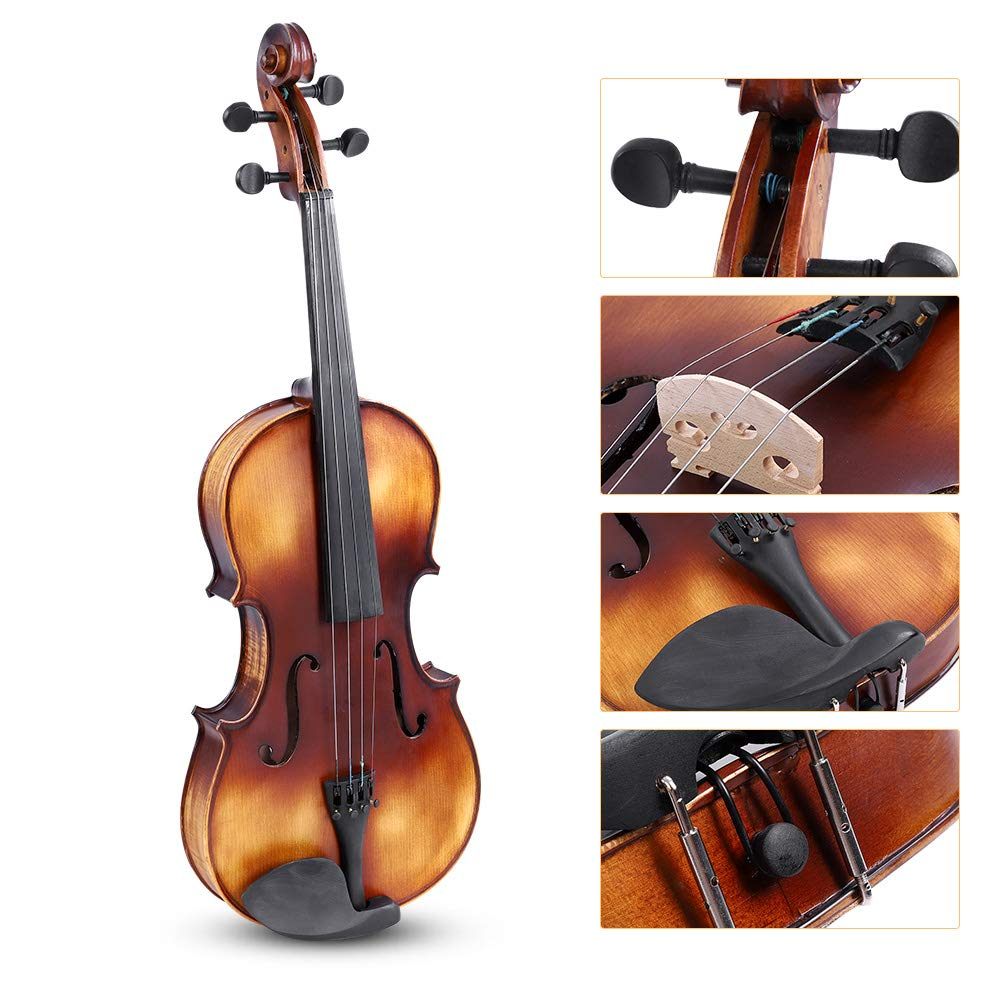 16inch Viola, Handcrafted Spruce Viola Solid Wood Acoustic Viola with Case, Bow, Bridge and Rosin Accessory for Beginners by Zerone (Image #3)