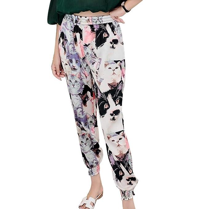 Yuanu Mujer Verano Thin Cintura Alta Pantalones De Tobillo Seaside ...