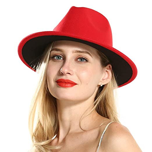 FADVES Womens Fedora Felt Hats Winter Trilby Cap Wide Brim at Amazon Women\u0027s Clothing store: