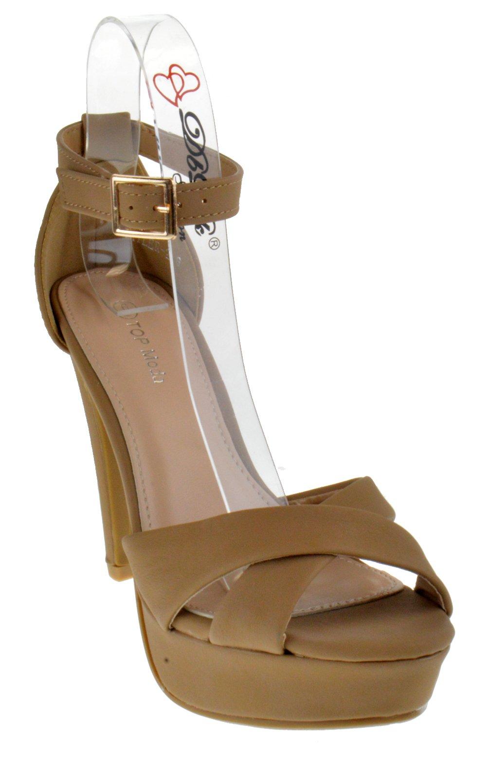 Top Moda Skyler 2 Womens Cross Strap Open Toe Stilletto Heel Platform Sandals Tan 9