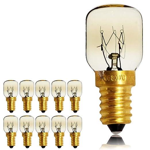 Pack de 10 bombillas de rosca SES E14, 300 grados, para microondas y horno, bombillas de luz nocturna, E14 25.00W 240.00V