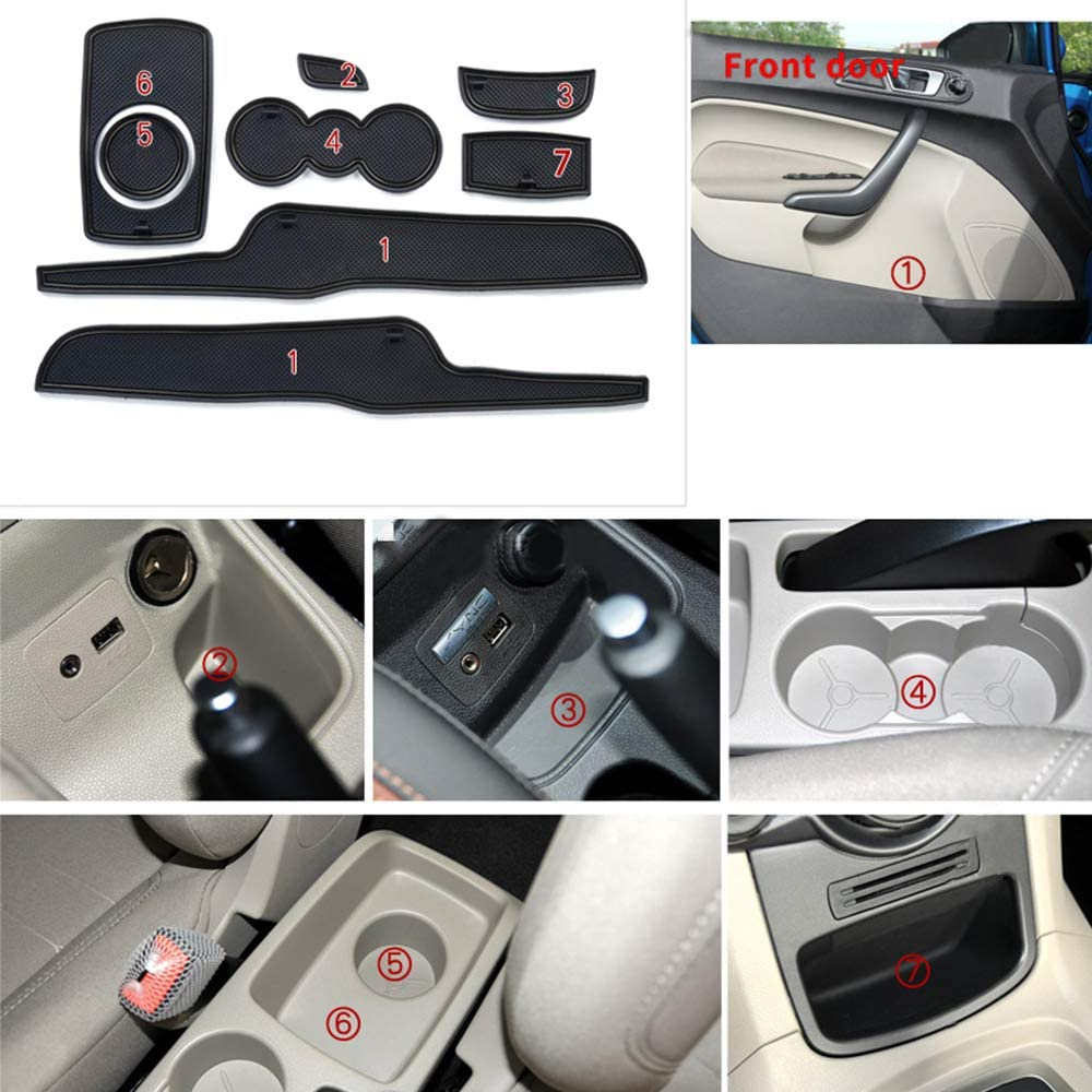Custom Fit for Ford Fiesta 08-16 Cup Holder and Door Slot Mat Gate Pad Liner Accessories Car Styling 8PCS White