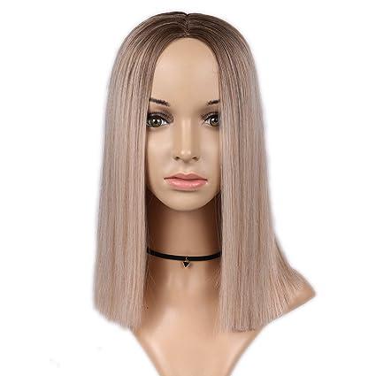Ombre peluca de pelo sintético rosa sedosa recta peluca ...