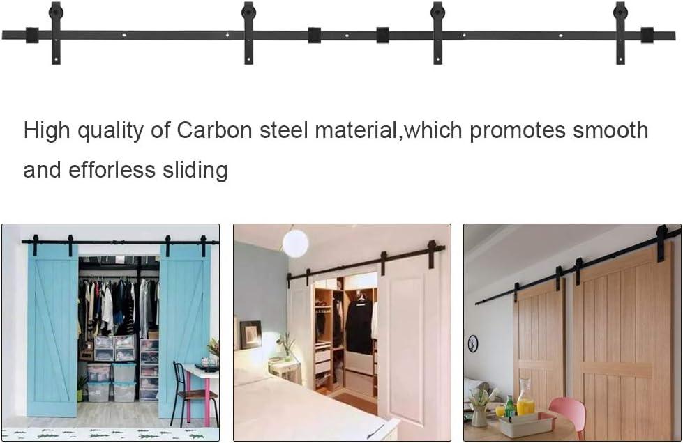 Double Door Hardware Kit Black Carbon Steel Barn Door Hardware Kit with J Shape Hanger 12FT Heavy Duty Sliding Barn Door Hardware Kit