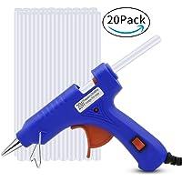 Pistolet à Colle Chaude, Bukm Mini Pistolet à colle avec 20 Pcs Bâtons de colle haute temperature pour DIY Artisanat Réparations et réparations rapides dans Home & Office (20 watts, Bleu)