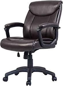 Hyos Ergonomic PU Leather Mid-Back Executive Computer Desk Task Office Chair Brown
