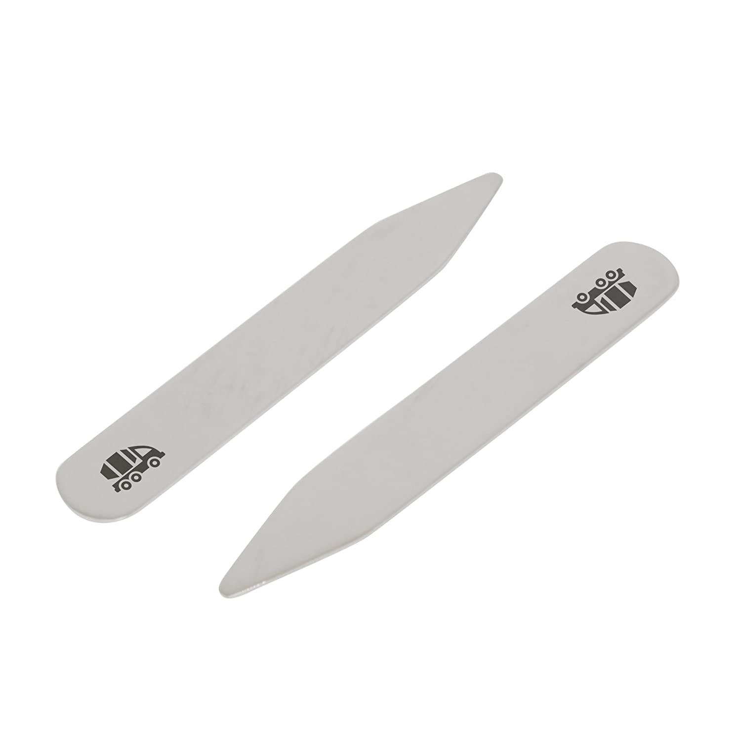 Made In USA 2.5 Inch Metal Collar Stiffeners MODERN GOODS SHOP Stainless Steel Collar Stays With Laser Engraved Cement Truck Design