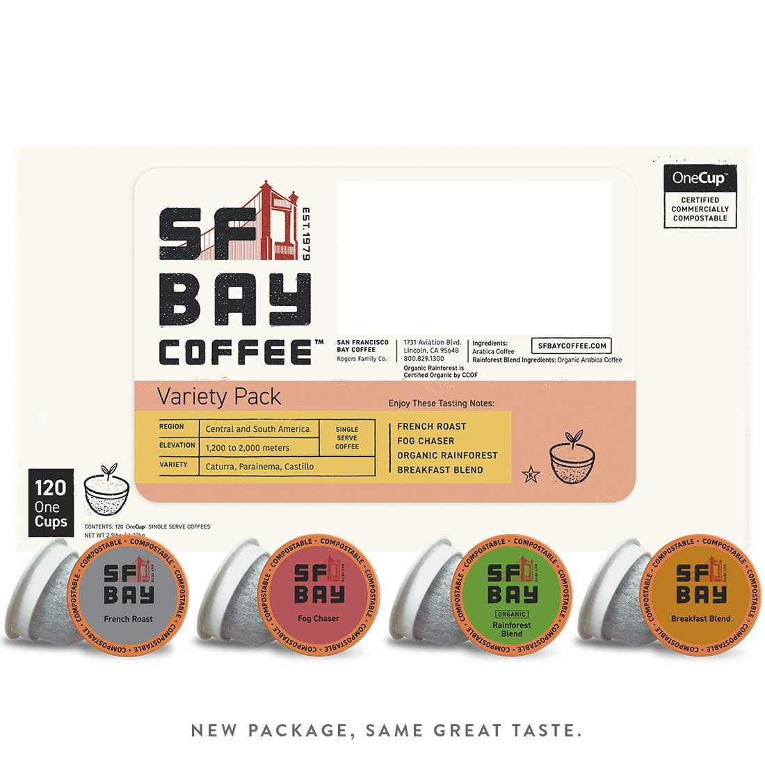 SF Bay Coffee Variety Pack 120 CtCompostable Coffee Pods, K Cup Compatible including Keurig 2.0 (Packaging May Vary)