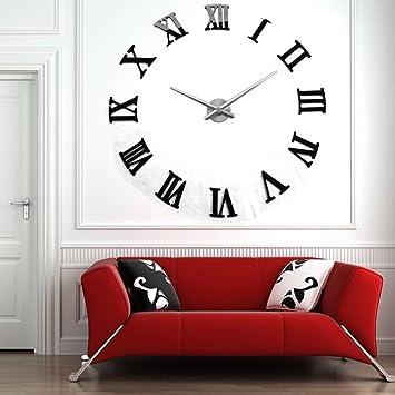 Yosoo - Reloj de pared gigante, diseño moderno con números romanos, 3D, para hacerlo tú mismo (DIY), ideal para decoración de salón u oficina: Amazon.es: ...