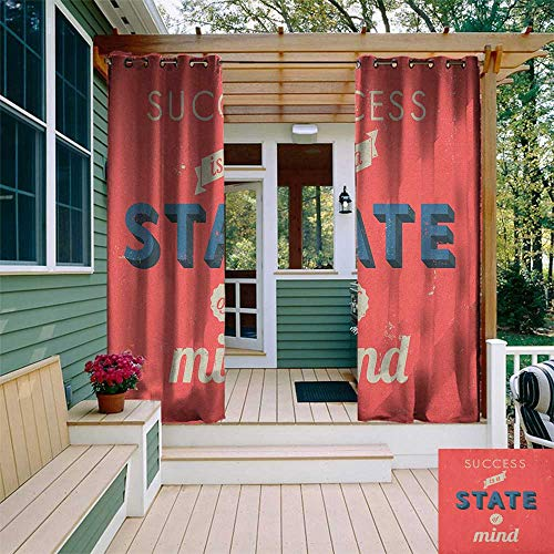 (leinuoyi Quote, Outdoor Curtain Extra Wide, Success is A State of Mind in Retro Style Theme Motivational Quote Classic Print, Outdoor Patio Curtains W120 x L108 Inch Red Charcoal)