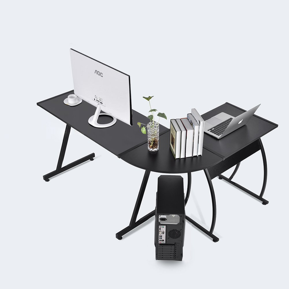 GreenForest L-Shape Corner Computer Office Desk PC Laptop Table Workstation Home Office 3-Piece,Black
