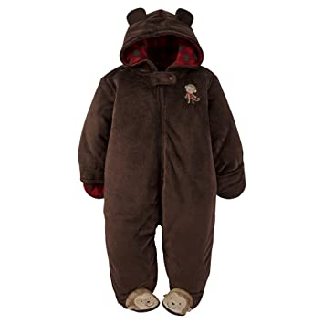 0e59743d8 Amazon.com  Carters Plush   Warm Fleece Baby Bunting Monkey Hooded ...