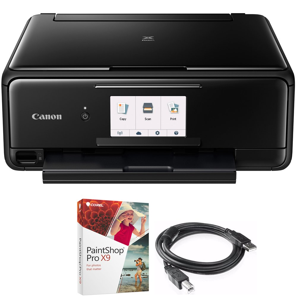Canon PIXMA TS8120 Wireless Inkjet All-in-One Printer with Scanner & Copier Black (2230C002) Corel Paint Shop Pro X9 Digital Download & High Speed 6-foot USB Printer Cable