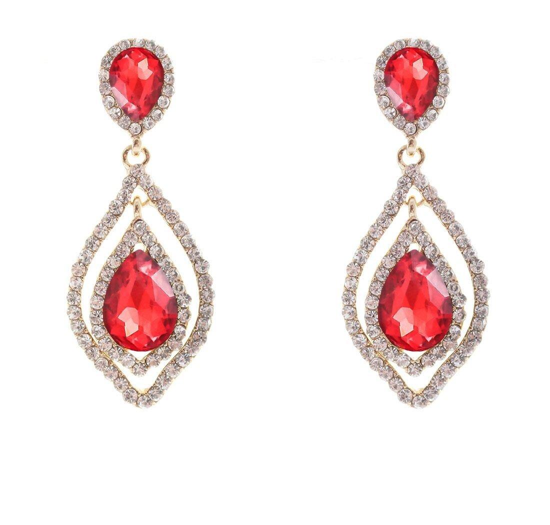 Com Nlcac Women S Pear Shape Teardrop Crystal Red Earrings Dangle Long Rhinestone Chandelier Earring Wedding Jewelry For Bride