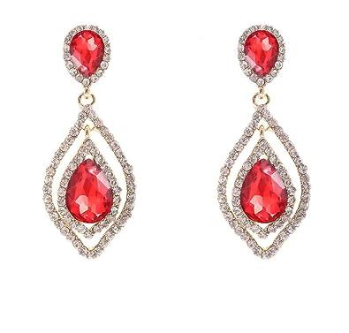 Amazon.com: NLCAC Women\'s Pear Shape Teardrop Crystal Red Earrings ...