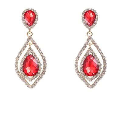 Amazon nlcac womens pear shape teardrop crystal red earrings nlcac womens pear shape teardrop crystal red earrings dangle long rhinestone chandelier earring wedding jewelry for aloadofball Gallery
