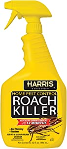 HARRIS Roach Killer, Liquid Spray with Odorless and Non-Staining 12-Month Extended Residual Kill Formula (32oz)