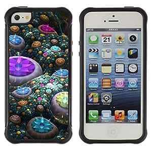 Pulsar Defender Series Tpu silicona Carcasa Funda Case para Apple iPhone 5 / iPhone 5S , Abstract Gems