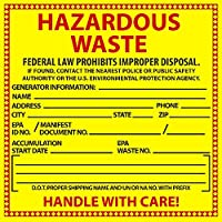 National Marker Corp. HW10ALV Labels, Hazardous Waste, Chemical Identification, 6 Inch X 6 Inch, PS Vinyl, 500/Roll